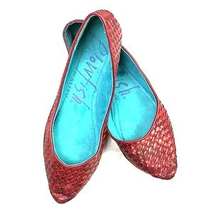 Blowfish red basket weave point toe flats size 7